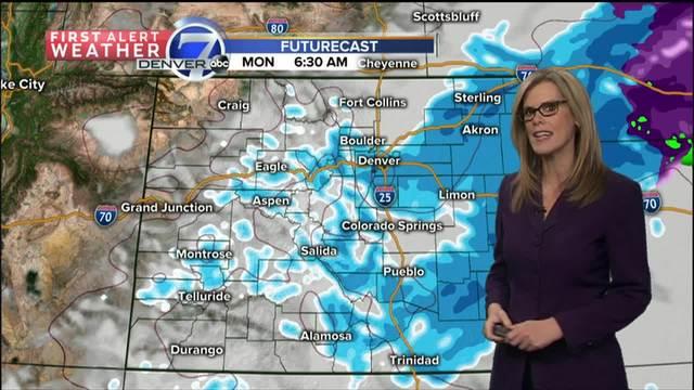 Heavier snow to the south of Denver Sun- Mon