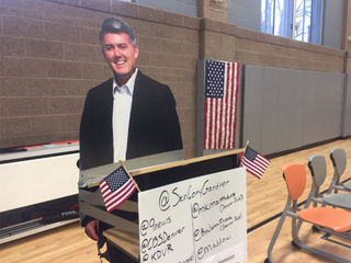 Cory Gardner cutout image shows up to town hall