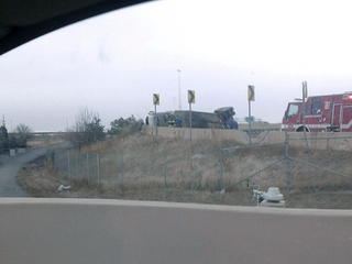 Semi rollover crash snarls traffic on I-25, I-76