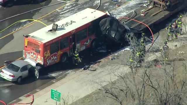 RAW- RTD bus involved in fiery- 3-vehicle crash in Boulder