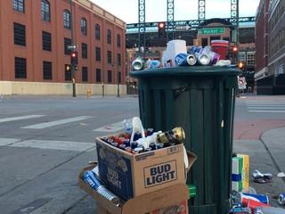 Volunteers clean up mess after Rockies game