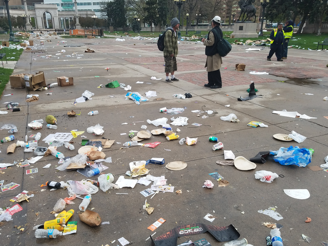 Mountains of trash left after 4-20 festival in Denver-s Civic Center Park