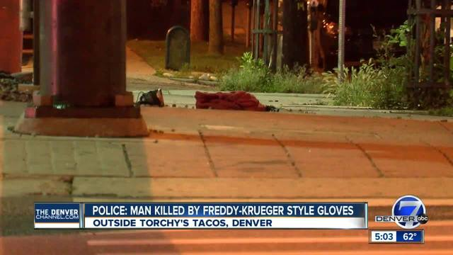 Police- Man with clown makeup- Freddy Krueger-style glove stabbed man…