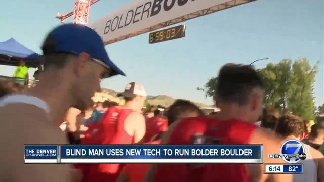 Blind man uses new tech to run Bolder Boulder