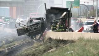 1 dead, 3 injured in fiery I-25 crash