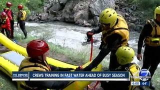 Rescue crews training in fast waters for summer