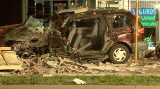 Driver crashes into nail salon at high speed