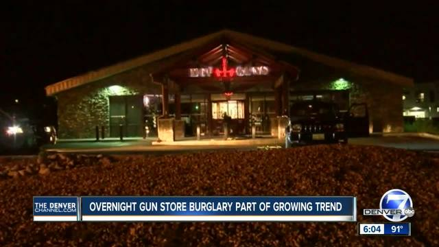 Police- Thieves pull door off Castle Rock gun shop- steal weapons