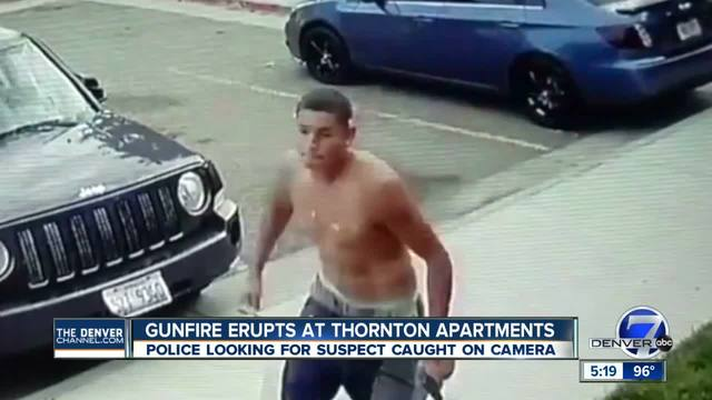 Half-dressed gunman walks up to Thornton apartment building- fires 4…