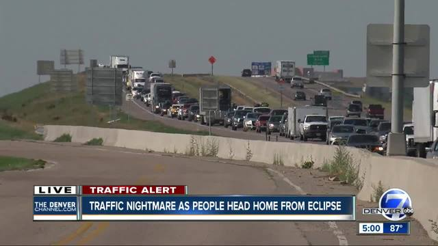 Traffic nightmare as people head home from eclipse
