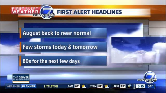 The next few days bring afternoon storm chances