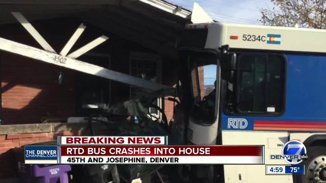 3 injured as RTD bus crashes into Denver home