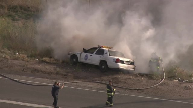 Traffic mess on I-70 after DPD car catches fire