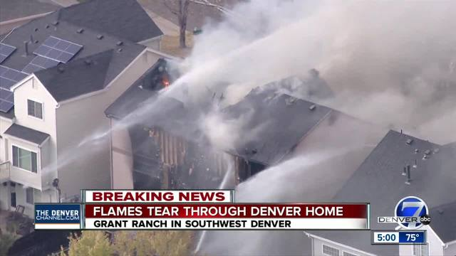 No injuries after Denver home goes up in flames in southwest neighborhood