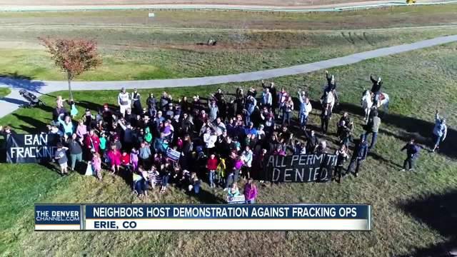Erie neighbors host demonstration in front of nearby fracking site