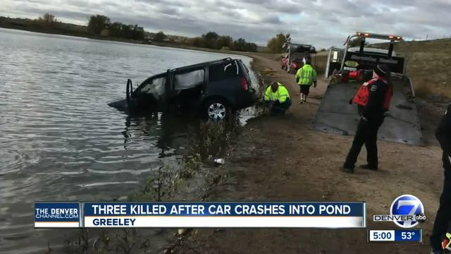 3 dead in single car crash that sent car into Greeley pond Monday morning
