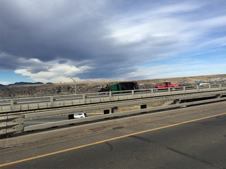 fuel spill from overturned dump truck closes wb i 70 at