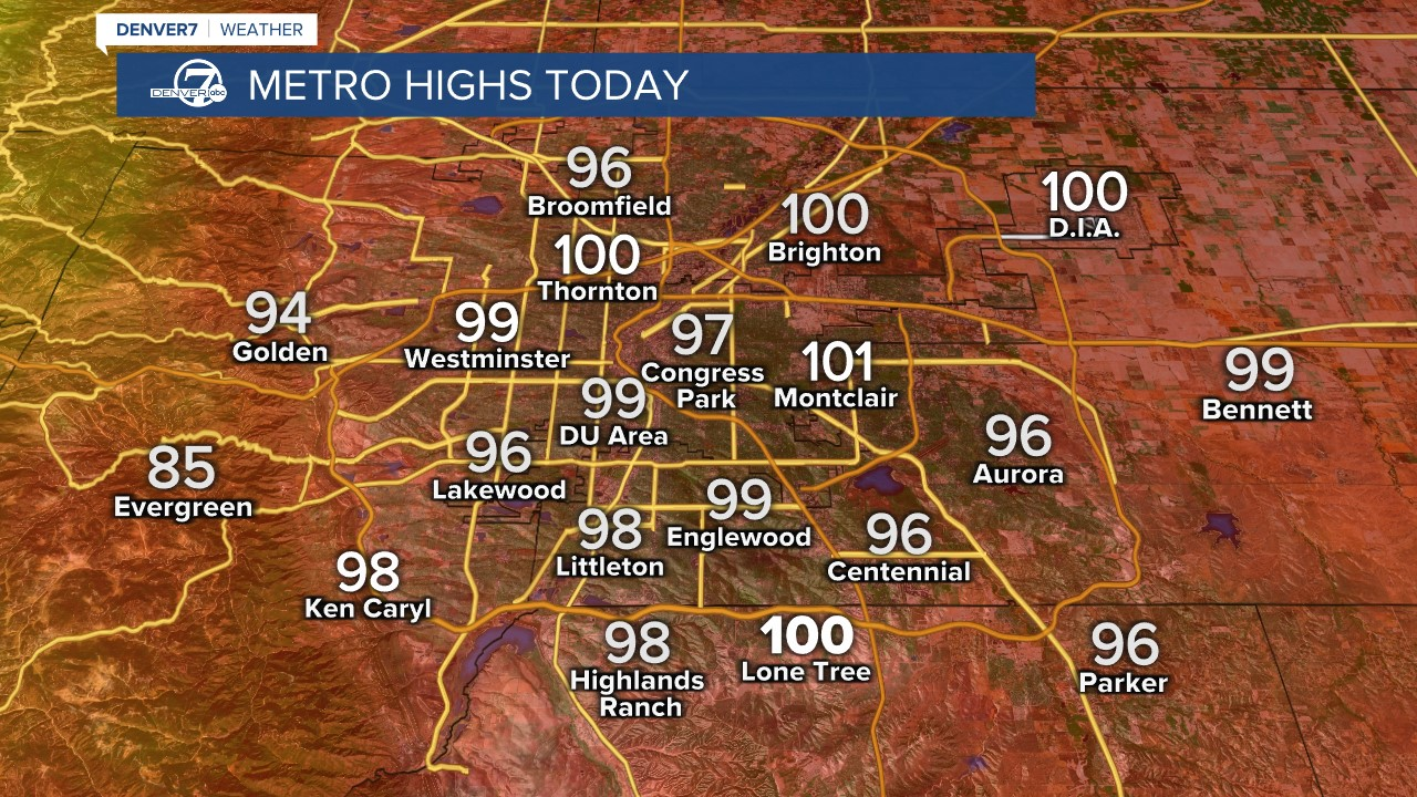 Metro area highs tomorrow