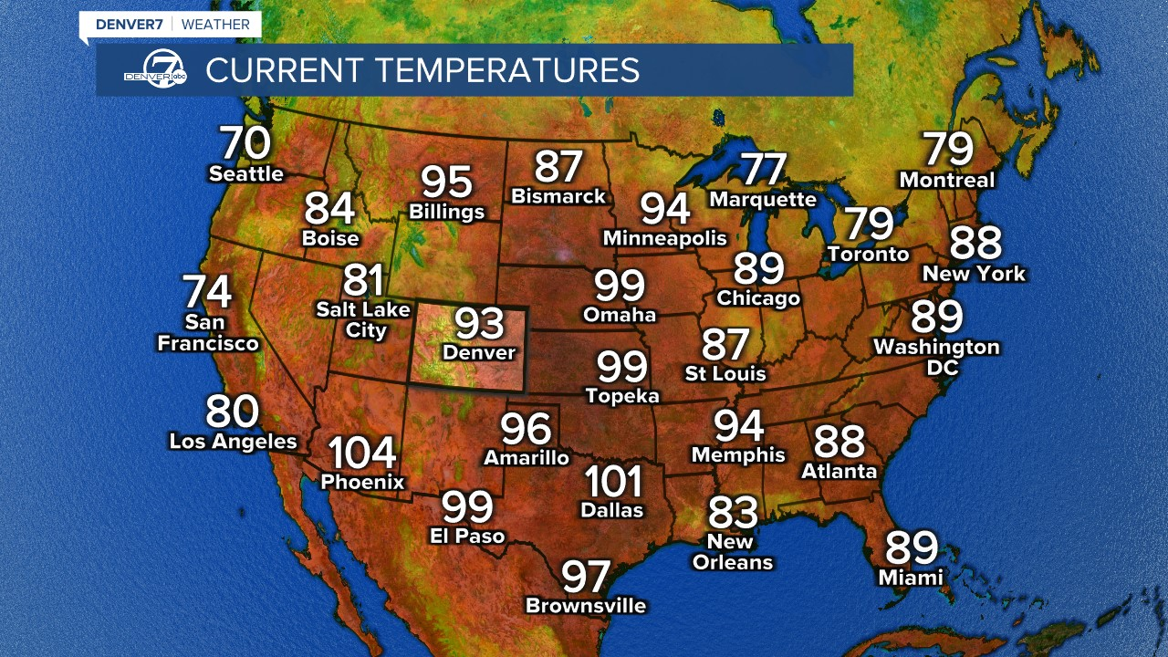 Current national temperatures