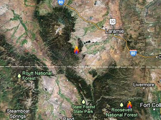 Southern Wyoming Wildfire Forces Evacuations Denver - Map of southern wyoming