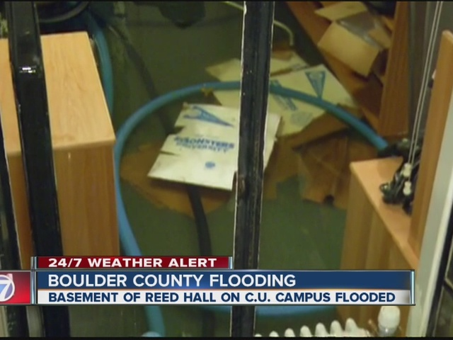 Reed Hall on CU Boulder campus flooded