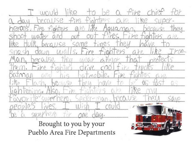 student d fire chief for a day after writing essay comparing  student d fire chief for a day after writing essay comparing firefighters to superhereos denver7 com