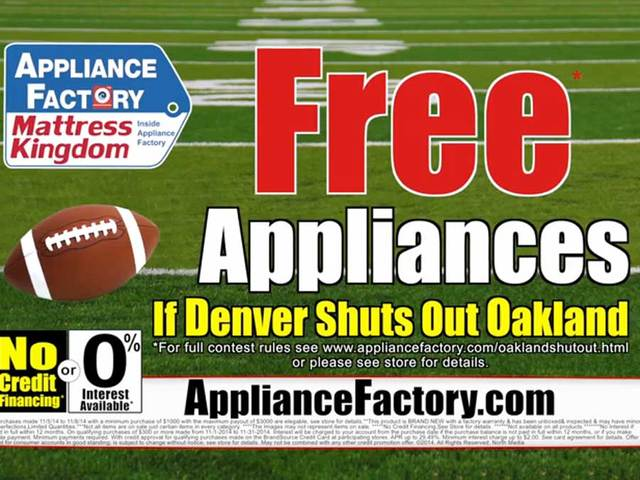 No free appliances for shoppers counting on Denver Broncos to ... Appliance Stores Denver Html on