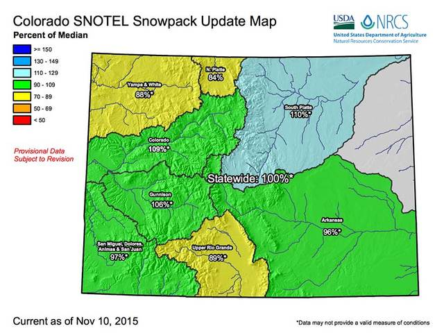 Heading Into Forecasted Overnight Storm Colorados Snowpack Is - Us snowpack map
