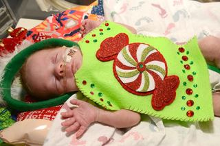 Tiny patients wear 'ugly' Christmas sweaters