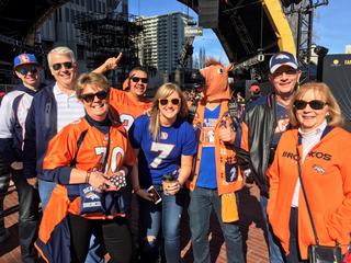 Denver Broncos fans in Super Bowl City