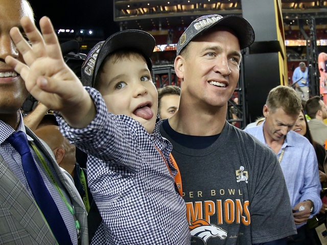 peyton manning kids. Broncos Players Share Spotlight With Their Children After Super Bowl 50 Victory - Denver7 TheDenverChannel.com Peyton Manning Kids