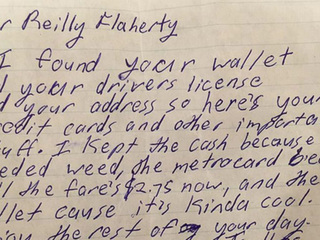 NYC man gets honest letter after losing wallet