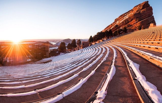 Red Rocks Amphitheatre in the sunlight.