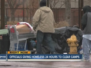 Denver homeless have 24 hrs to clear tents