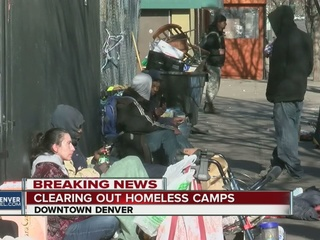 Denver crews clear homeless from public area