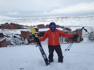 Man skis the steps at Red Rocks Amphitheater
