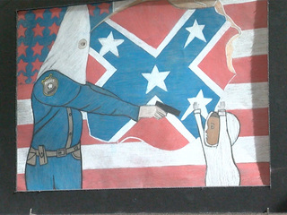 KKK drawing: Mayor, DPD Chief, talk with artist