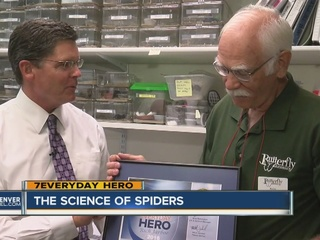 7Everyday Hero feeds tarantulas as a volunteer
