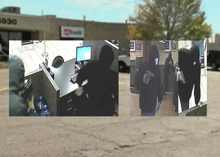 Images show chilling moments of bank robbery