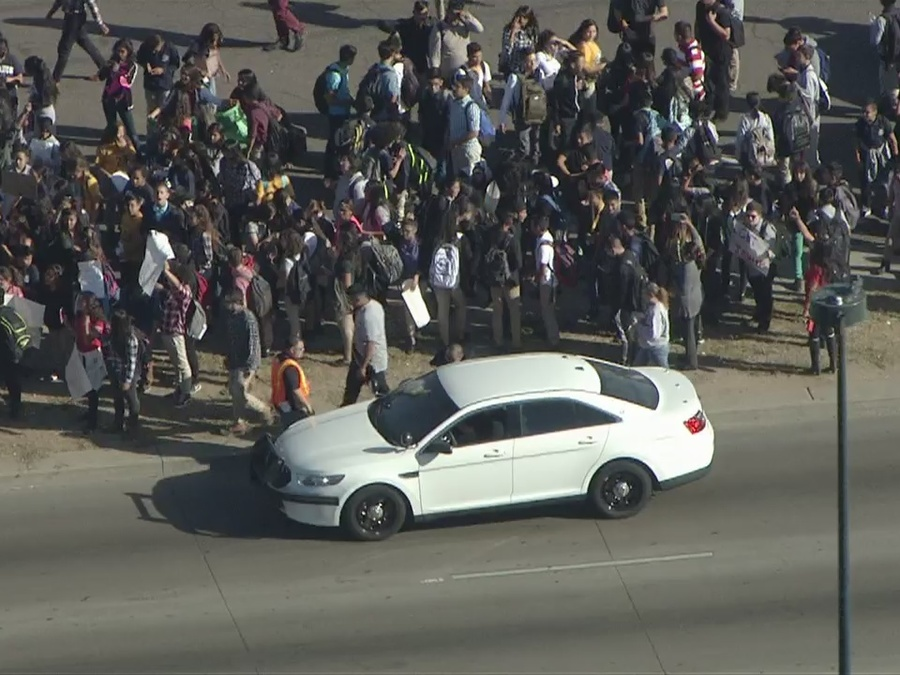 Denver high school students walk out of class in anti-Trump protest