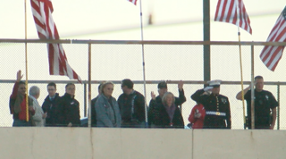 Veterans honored on freeway overpass