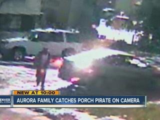 Porch pirate caught on video in Aurora