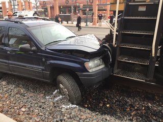 SUV collides with train in Old Town Fort Collins