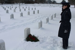 Veterans' graves decorated with wreaths