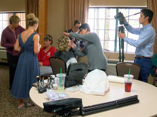 Couple moves nuptials indoors for White Wedding