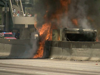 Fiery I-25 tanker crash caused by blown tire