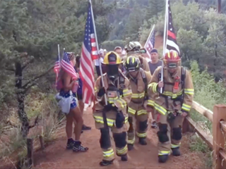 Firefighters climb incline in 9/11 tribute