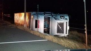 High winds blow over semi trucks on I-70