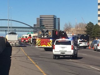 I-25 reopens at DTC after crash and fuel spill