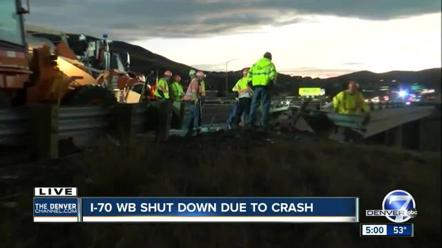 WB I-70 closed at 6th Avenue due to fuel spill from overturned dump truck
